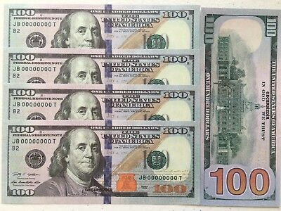 25 Pcs Real Size American Invalid 100 Dollars Cash $2.500 Same Color Paper Money