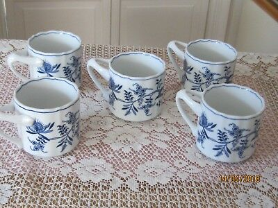 5 Blue Danube Coffee Soup Mugs  Rectangular handles Excellent condition