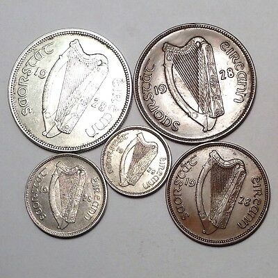 1928 IRELAND 1/2 Crown and others - 5 coins - NICE ASSORTMENT! TAKE A LOOK!!