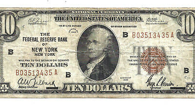 1929 $10 Brown Seal! **NEW YORK** FINE! Old US National Currency!
