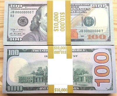 100 Pieces Like Real American Invalid $100 Training Game Paper Money Full Print
