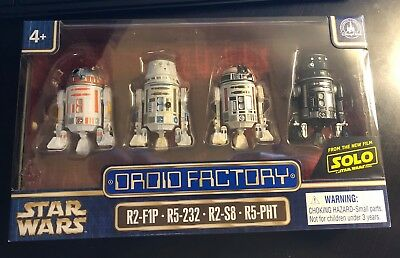 Disney Parks Star Wars SOLO Droid Factory Set of 4 R2-F1P R5-232 R2-S8 R5-PHT