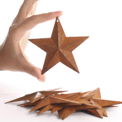 """8 Rusty Barn Stars 3.75 in 3 3/4"""" Dimensional 2D w/ hole Craft Supply Country"""