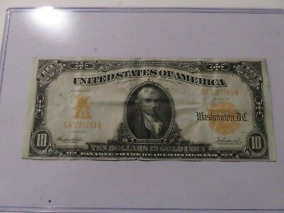 1907 $10 Ten Dollars Gold Certificate Currency Note
