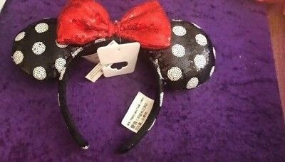 NEW Disney Minnie Mouse Ear Headband Black with Red Bow and White Polka Dots