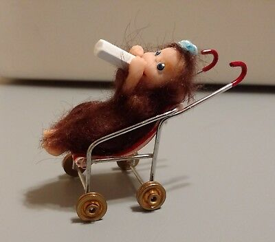 OOAK Polymer Clay Monkey Primate Baby in stroller drinking his bottle