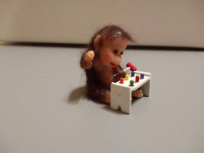 OOAK Polymer Clay Monkey Primate Baby playing with his toy! Very Cute!