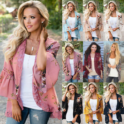 AU Boho Womens Long Sleeve Lace Floral Kimono Cardigan Ladies Casual Jacket Tops