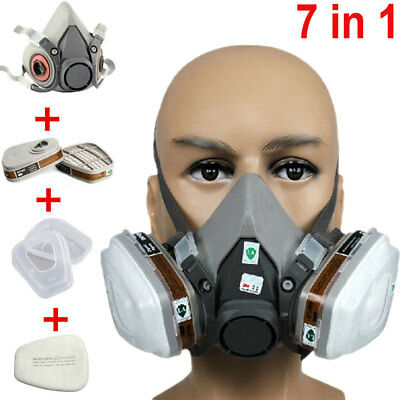 Half Face Dust Gas Mask Facepiece Respirator Painting Spraying For 3M 6200 N95