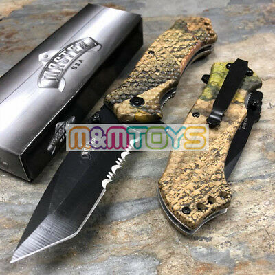 MASTER USA - Fall Camo Half Serrated Blade Pocket Folding Knife MU-A009FC