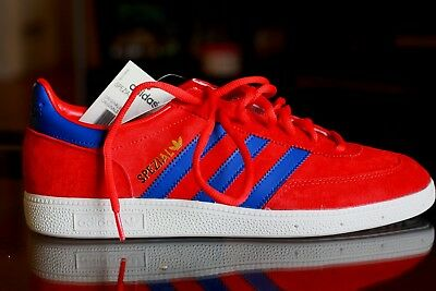 ADIDAS SPEZIAL Mens Shoes 9.5 Red Suede/Royal Stripe NEW