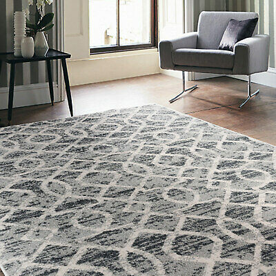 Geometric Grey Floor Area Rug Soft Mat Modern Moroccan Carpet 4 Sizes