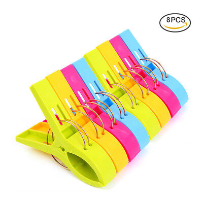 Pack of 8pc Large Bright Colour Plastic Clothespin Beach Towel Pegs Clips Clamp