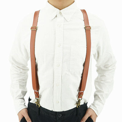 """Split Leather 1"""" Wide Y Suspenders for Men with 3 Clips,Snap Hooks,1 Screwdriver"""