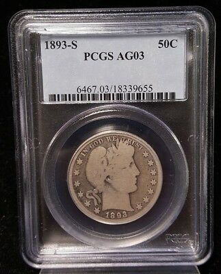1893 S Barber Half Dollar Pcgs Ag03 Better Date