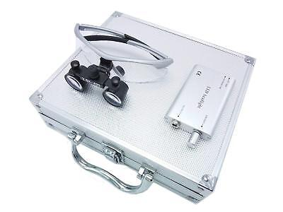 2.5X Dental Surgical Binocular Loupes Silver + Headlight + Aluminum Box UK STOCK
