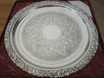 RODD HECWORTH SILVER PLATED SERVING TRAY-28 cm DIAMETER BOXED-AS NEW CONDITION