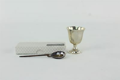 1930s .925 hallmarked sterling silver christening cup & Roman replica spoon 52g