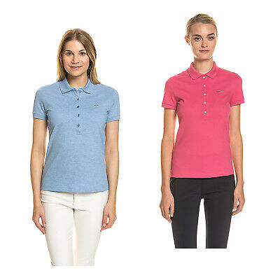 LACOSTE Damen Polo Shirt Kurzarm Baumwolle Pique Stretch Freizeit Sport Regular