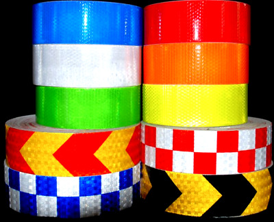 Reflective Tape Hi Vis fluorescent Tape Vinyl Roll Self-Adhesive Metre Lengths