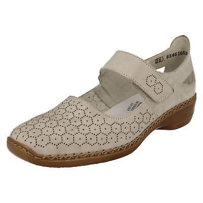 LADIES RIEKER 41357 CUT OUT DETAIL LEATHER MARY JANE RIPTAPE STRAP CASUAL SHOES