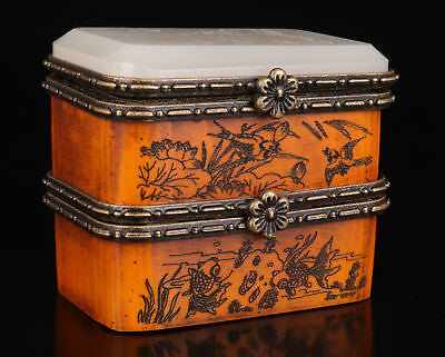 Old Cattle Bone Box  Hand-Carved Flowers Bird Adorn Old Chinese Wedd