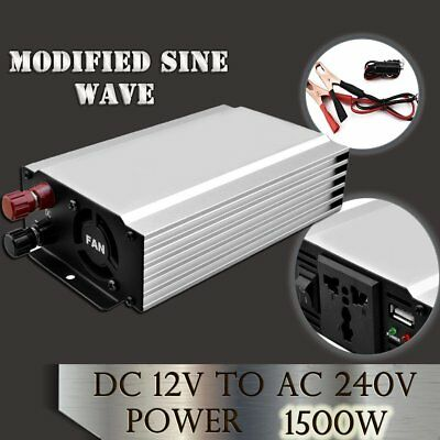 Modified Sine Wave 1500W DC12V toAC240V Car Power Transformer Inverter Charger#S