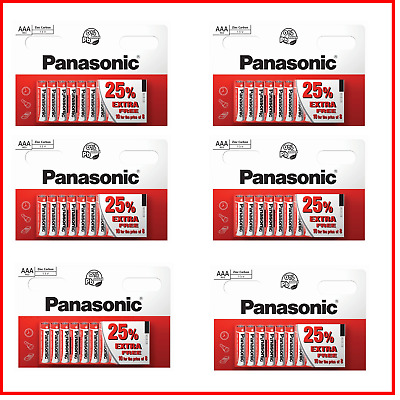 10 x AAA Genuine PANASONIC Zinc Carbon Batteries - New LR03 1.5V MN2400 02/2020