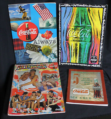 Lot of 4 Vintage Coke Coca Cola Notebooks Tablets Graph Paper & Lined 1990s New