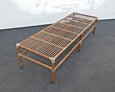 Vintage Oriental Asian Influence Leather Tied Wood BENCH No Cushions