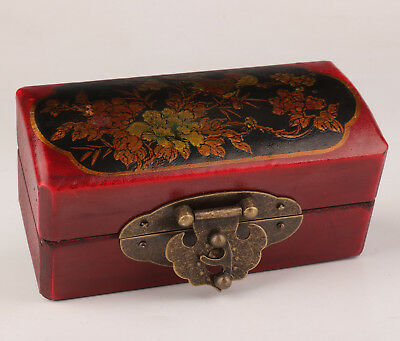 Red Black Leather Jewelry Box Old Hand Painted Flower Bird Crafts Dowry Collecti