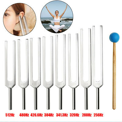 8Pcs Frequency Aluminum Medical Tuning Fork For Healing Sound Therapy+Mallet Set