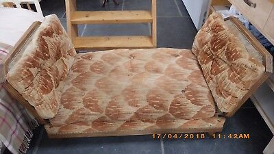 Victorian French Day Bed, Oak, original uphostery,