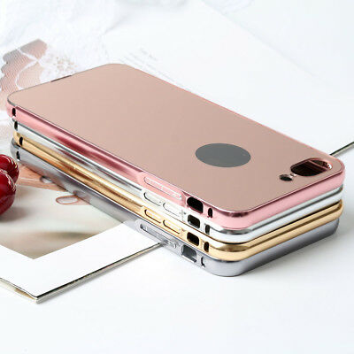 Luxury Slim Mirror PC Back Cover Skin+Metal Bumper Case For APPLE iPhone 8 Plus