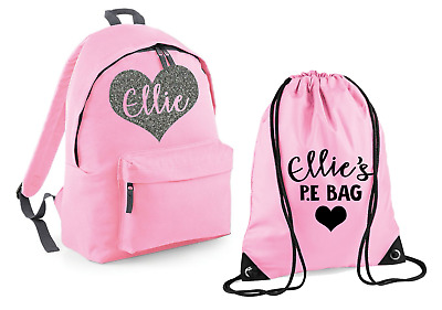 Personalised Name Heart Rucksack and P.E Bag Set Backpack Back to School Gym