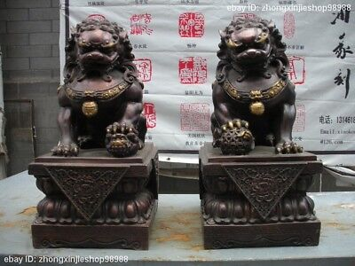 """17"""" China Royal Pure Red Bronze Palace Evil Door Fu Foo Dog Lion Statue Pair"""