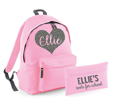Personalised Name Heart Rucksack and Pencil Case Set Backpack Back to School