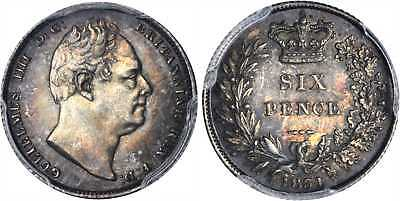 GR BRIT William IV 1831 AR Sixpence. PCGS MS64+ ESC-1674 Beautifully toned.