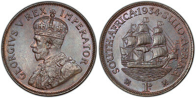 SOUTH AFRICA. George V. 1934 AE Penny. PCGS MS65BN. KM 14.3.