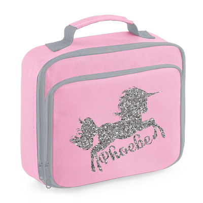 Personalised Name Unicorn Lunch Box Bag Back to School Bags Custom Bag