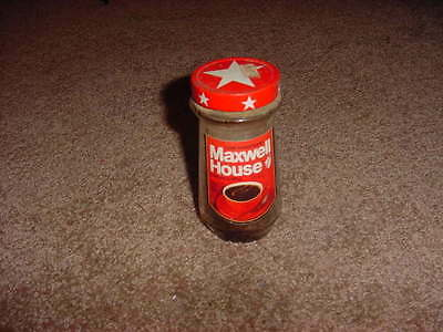 VINTAGE GLASS JAR MAXWELL HOUSE COFFEE 2oz 1971 PROP ART PAPER LABEL CANADA