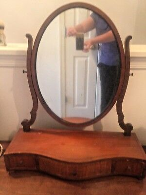 Vintage Vanity Dressing Shaving Wooden Swivel Mirror  with drawers