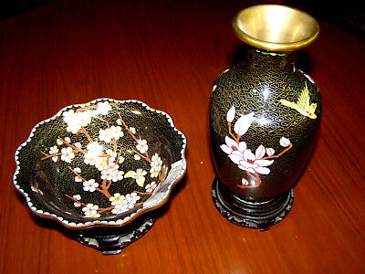 Chinese Cloisonné Matching Vase and Bowl on Stands