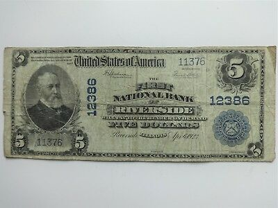1902 $5 First National Bank of RIVERSIDE, ILLINOIS Ch. # 12386, Blue Seal