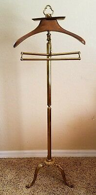 Louis XVI brass suit valet butler stand clothes rack hanger Italy vintage