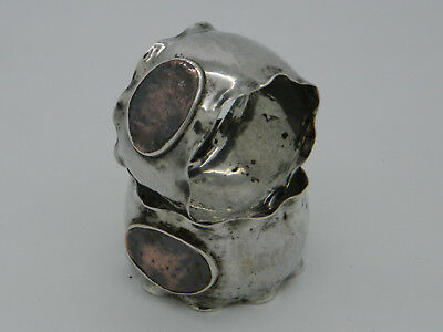Pair of Solid Silver 37.6g Arts & Crafts Hammered & Crimped Napkin Rings