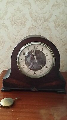 Old Vintage Collectible Wooden JAMES WALKER Shelf Mantel Clock With Pendulum