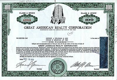 "entwertete Aktie ""Great American Reality Corporation"", New York, 1969, Goldman"