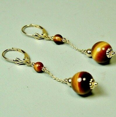 14k solid yellow gold round ball 10mm natural Tiger's Eye earrings 3.9 grams