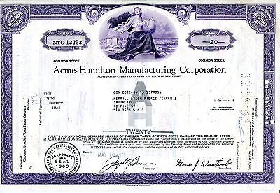 "entwertete Aktie ""Acme-Hamilton Manufacturing Corporation"", New Jersey, 1970"